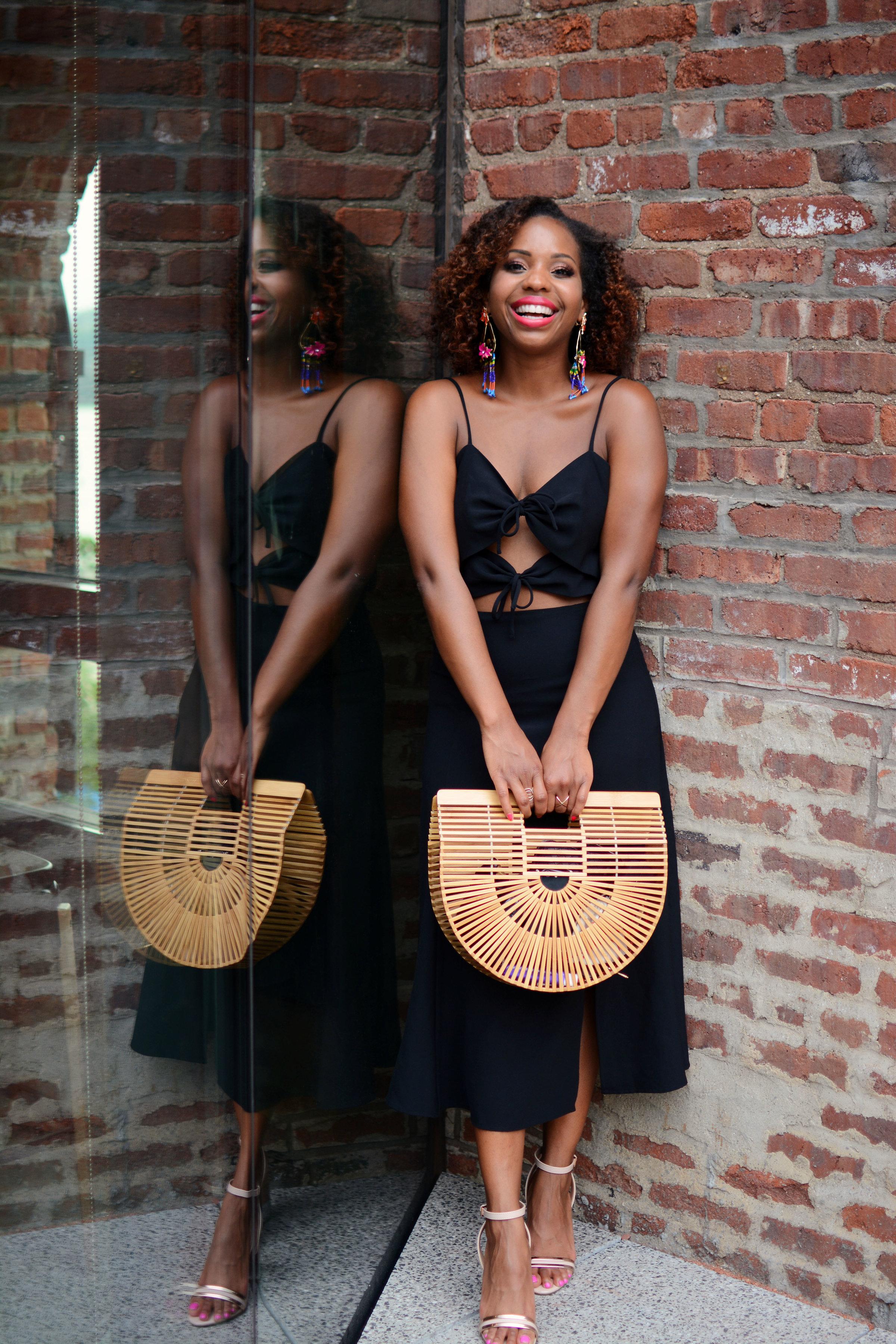 Summer Little Black Dress and Bamboo Bag