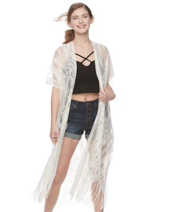 White Lace Paisley Kimono