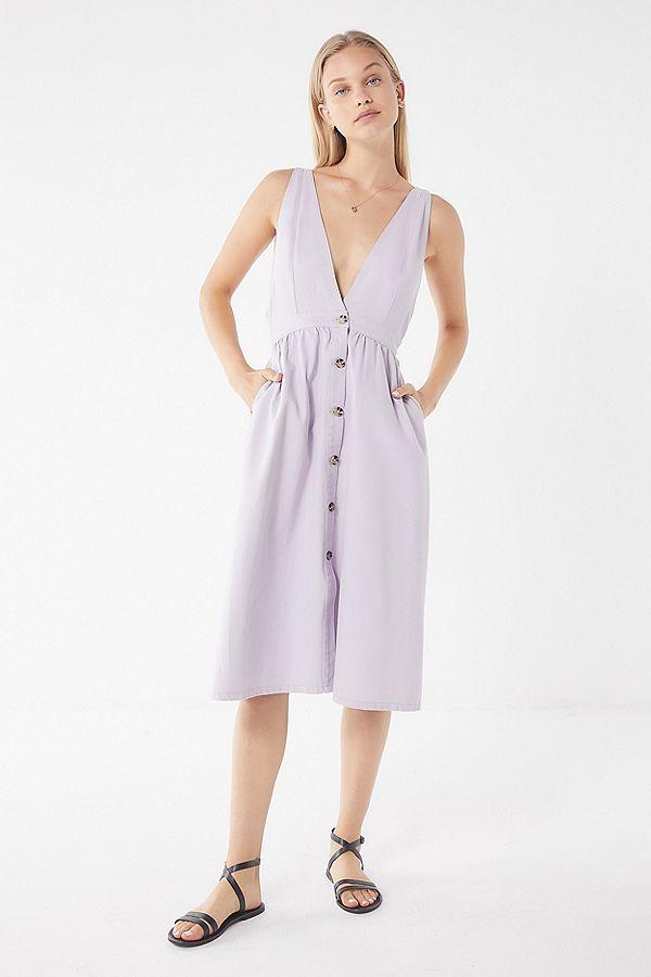 Linen Purple Plunging Neckline Denim Midi Dress.jpg