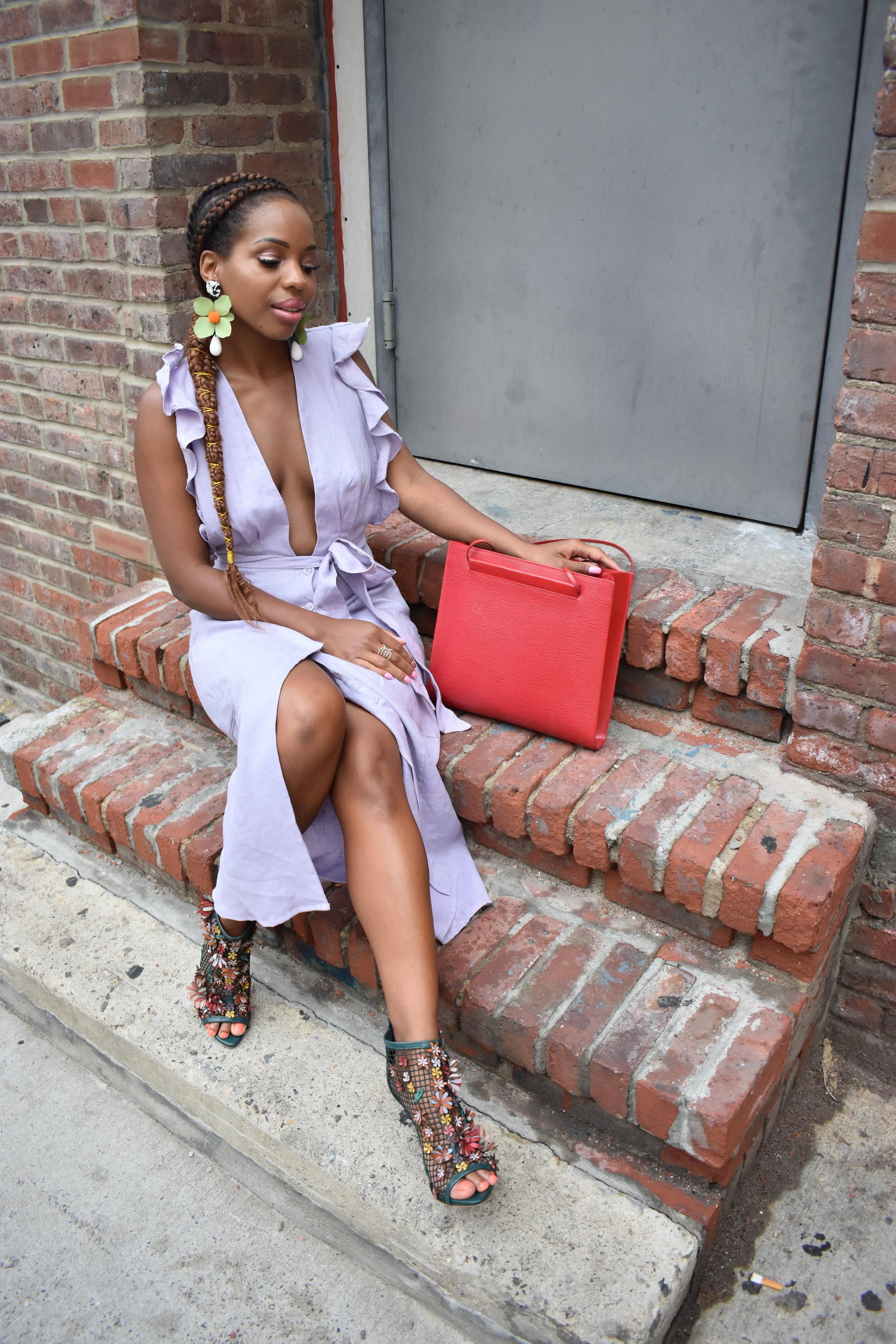 Linen Dress Floral Shoes