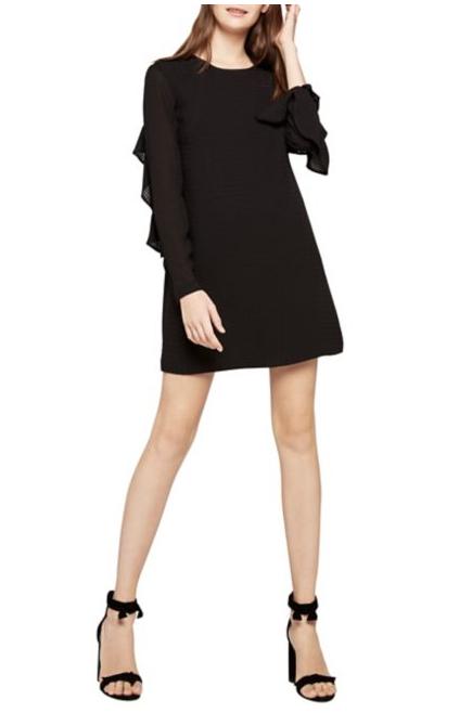 Mixed-Media Ruffle A-Line Dress
