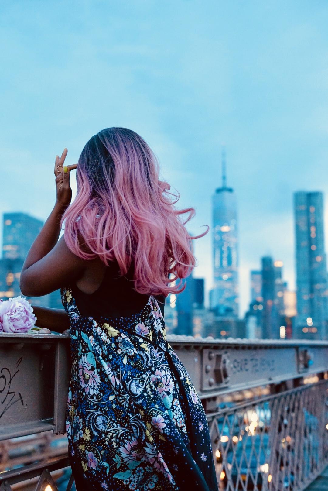 Pink Hair Brooklyn Bridge