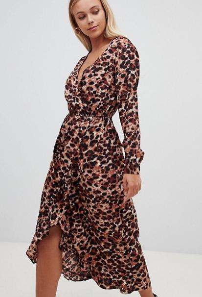 Asos Leopard Wrap Dress