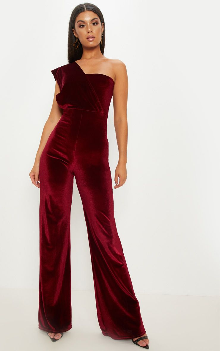 Burgundy Velvet Drape One Shoulder Jumpsuit.jpg