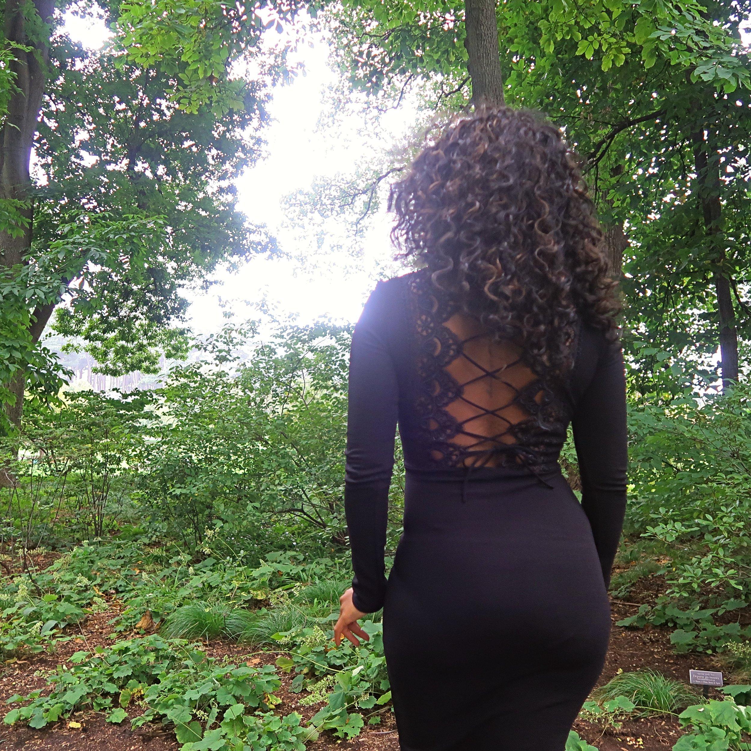 Black Lace Up Back Midi Dress