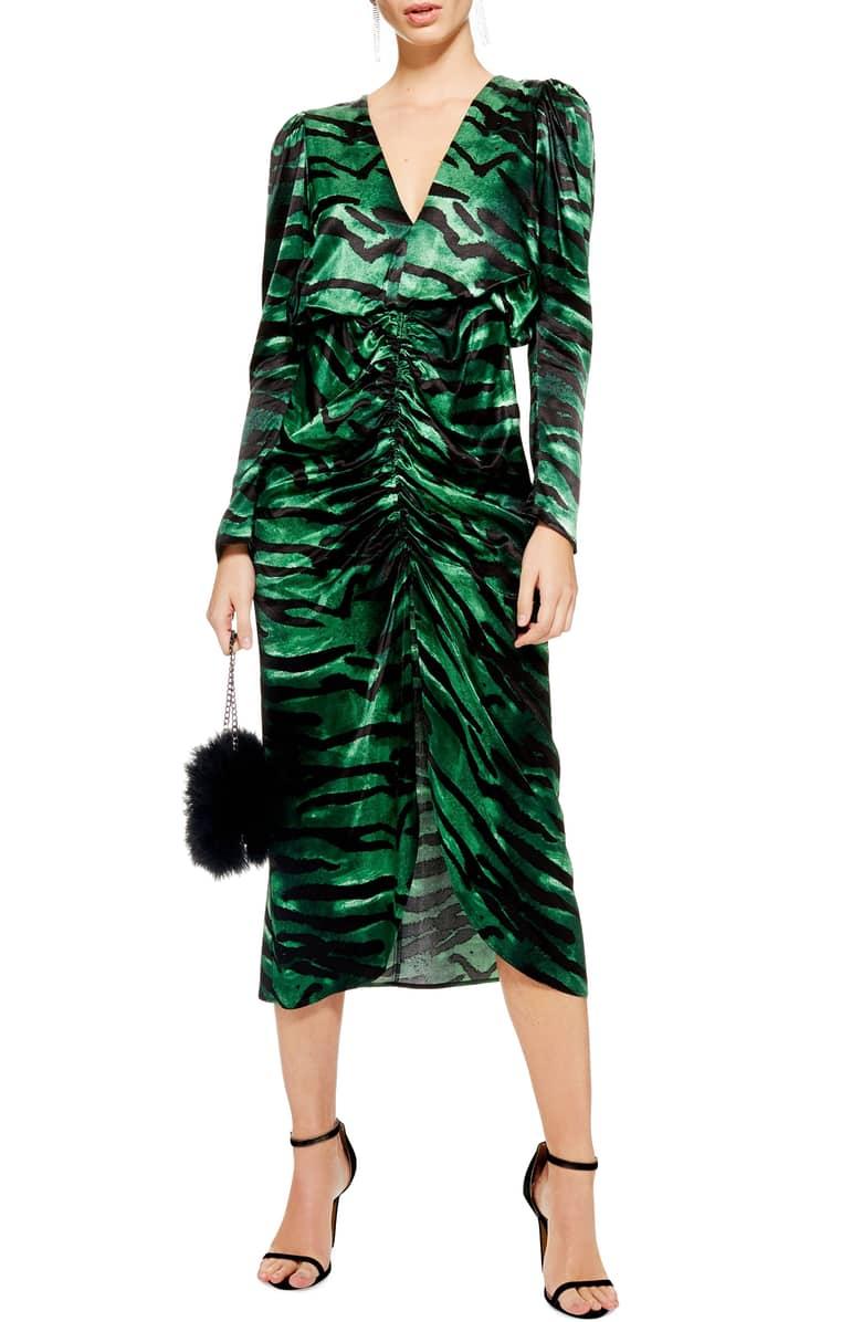 Topshop Green Tiger Striped Dress.jpg