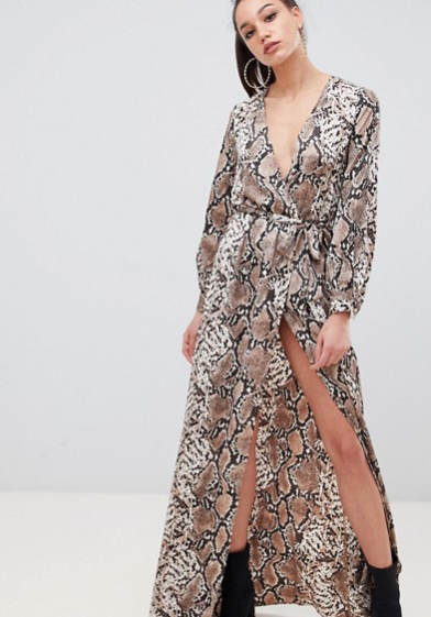 Misguided Snake Maxi Dress Asos