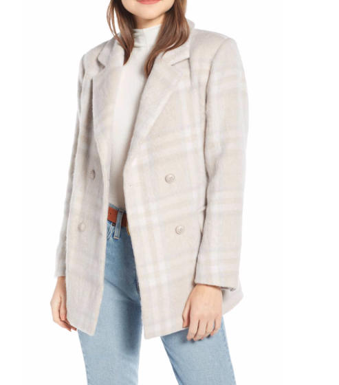 Something Navy Cream Wool Coat Nordstrom