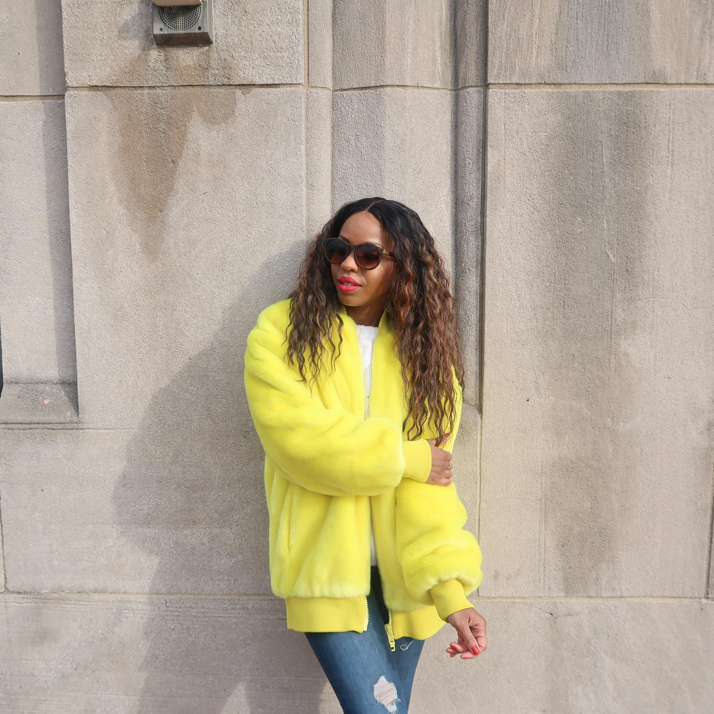 Yellow Faux Fur Statement Coat