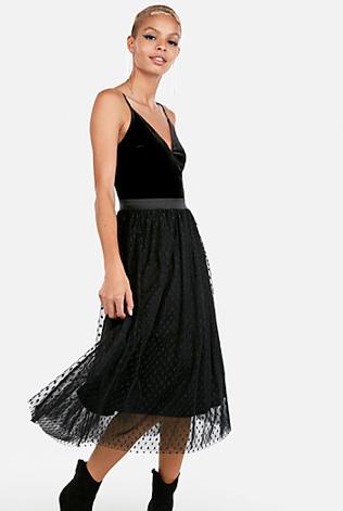 Velvet Bodice Tulle Midi Dress