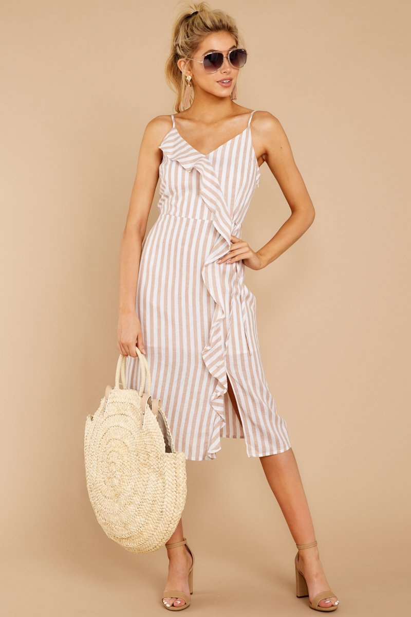 Spring Training Beige And White Stripe Midi Dress.jpg