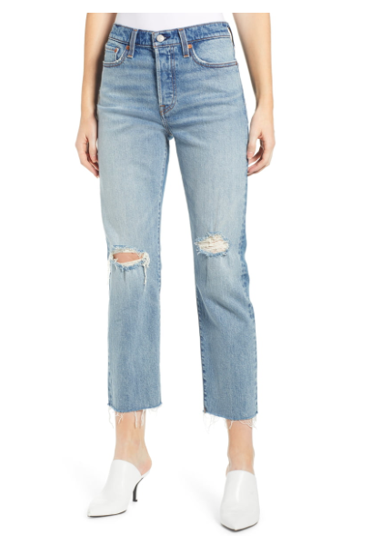 WEDGIE HIGH WAIST RIPPED CROP STRAIGHT LEG JEANS