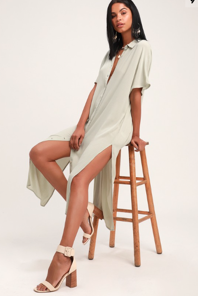 LIGHT SAGE MIDI SHIRT DRESS