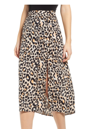 LEOPARD PRINT BUTTON FRONT MIDI COTTON BLEND SKIRT