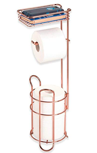 Metal Wire Toilet Paper Roll Holder Stand and Dispenser