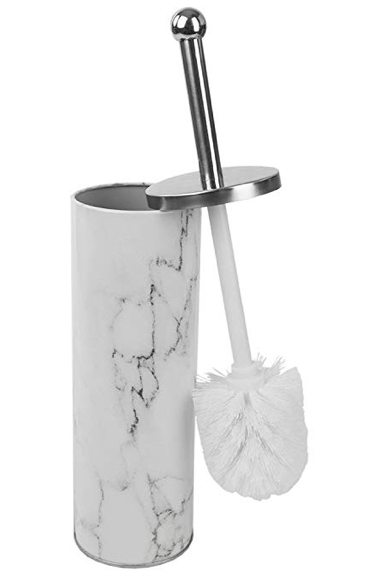 Home Basics White Faux Marble Bathroom Accessory (Toilet Brush)