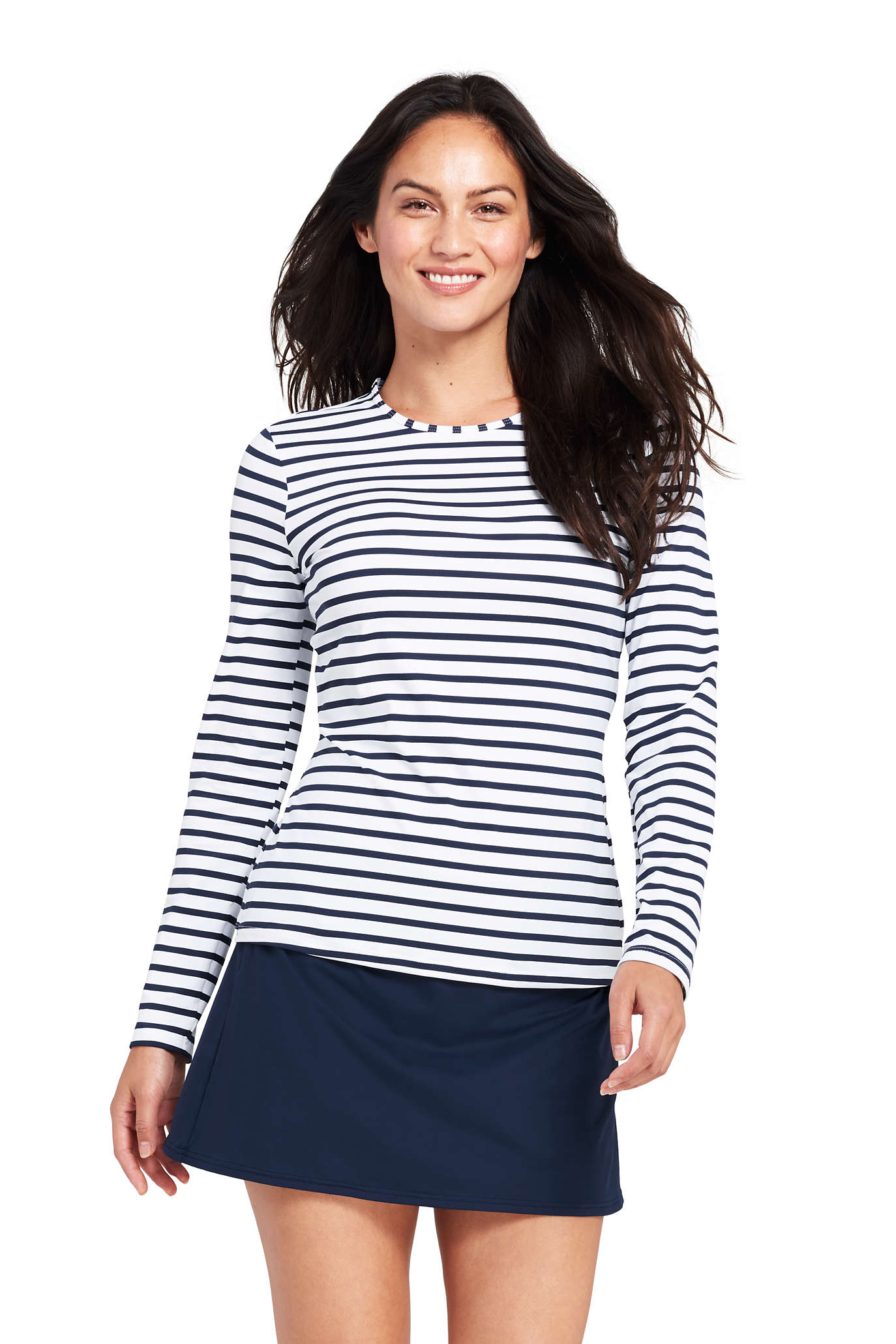 Women's Long Long Sleeve Swim Tee Rash Guard Stripe.jpg