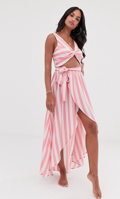 ASOS DESIGN TWIST FRONT BEACH MAXI BEACH DRESS