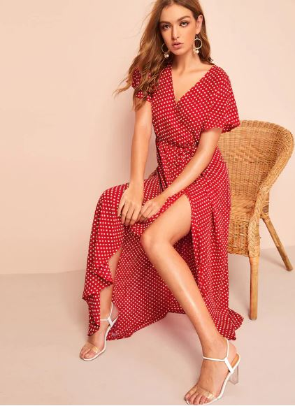 polka dot side split dress.JPG