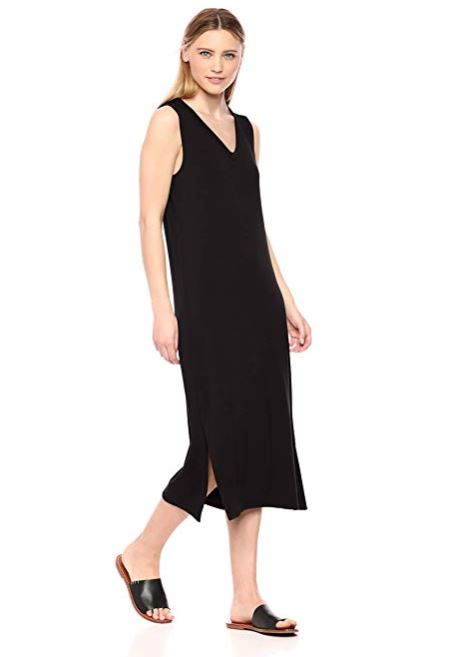 Amazon Brand - Daily Ritual Women's Supersoft Terry Sleeveless V-Neck Midi Dress
