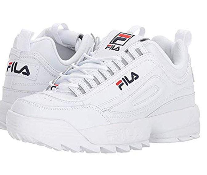 Fila Women's Disruptor II Premium Sneakers, White/Fila Navy/Fila Red