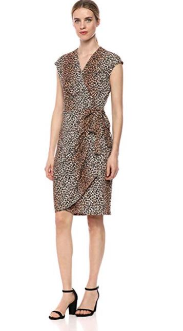 Amazon Brand - Lark & Ro Women's Classic Cap Sleeve Wrap Dress