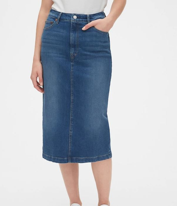 Gap High Rise Denim Midi Skirt.JPG