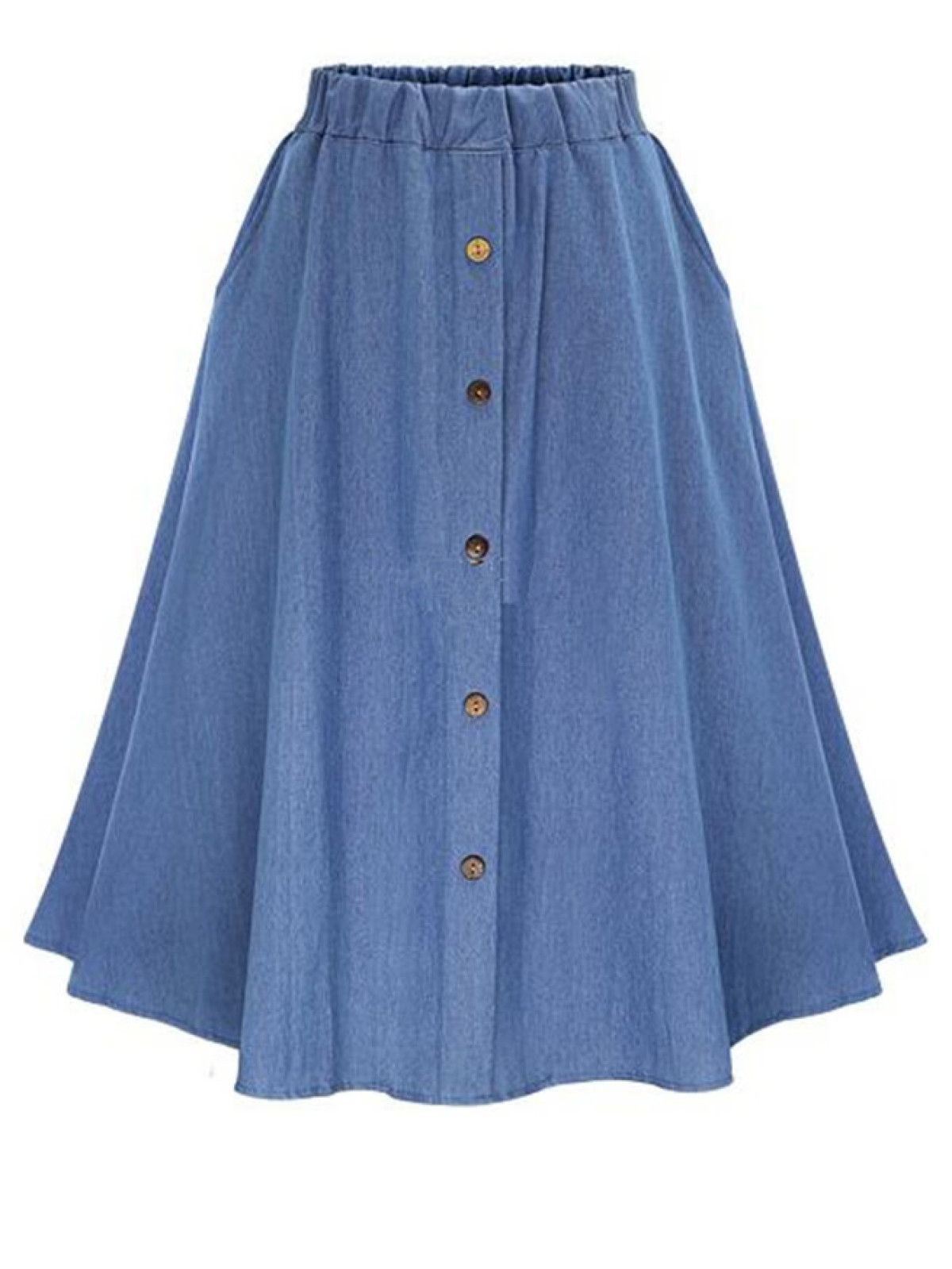 Romwe A Line Button Front Skirt.jpg