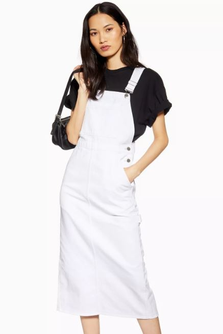 Topshop White Denim Pinafore Dress.JPG