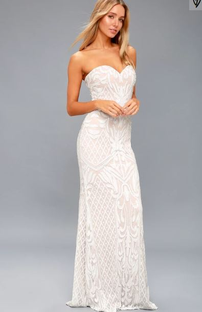 Olivia White Sequined Strapless Dress Lulus Weddings.JPG