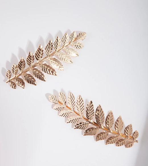 Gold Double Leaf Hair Clip Pack.JPG