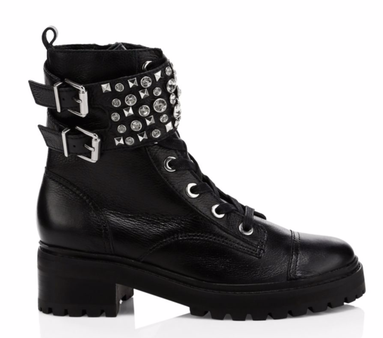 Jewelled Leather Combat Boots