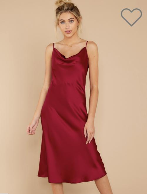 RUBY RED SLIP DRESS