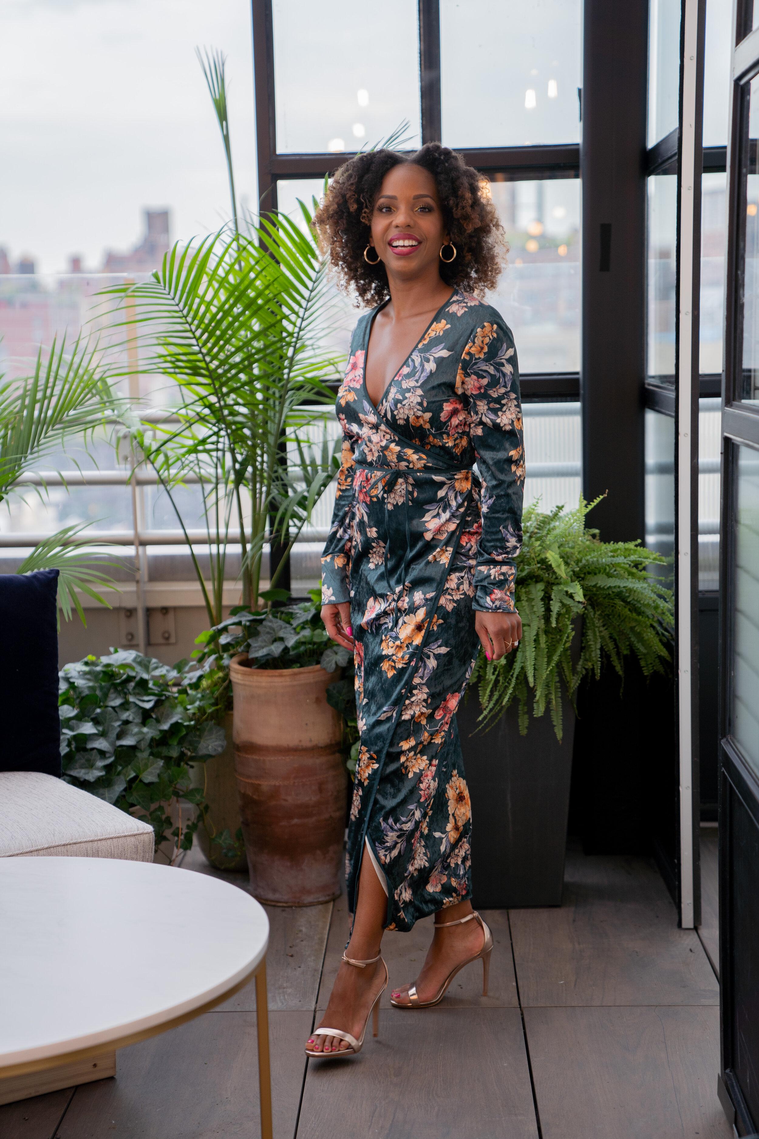 Zara Green Velvet Wrap Dress