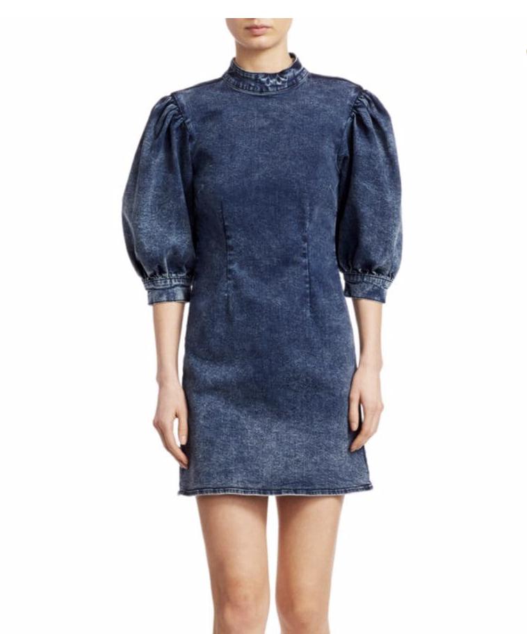 Cult Puff-Sleeve Denim Mini Dress