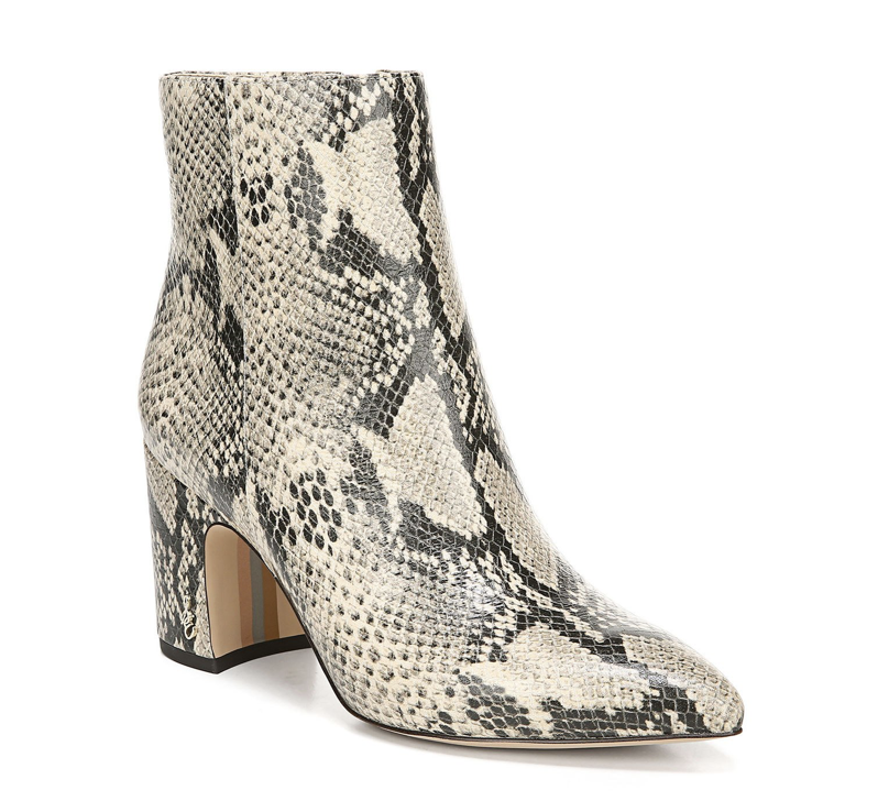 Hilty Snake-Print Leather Booties