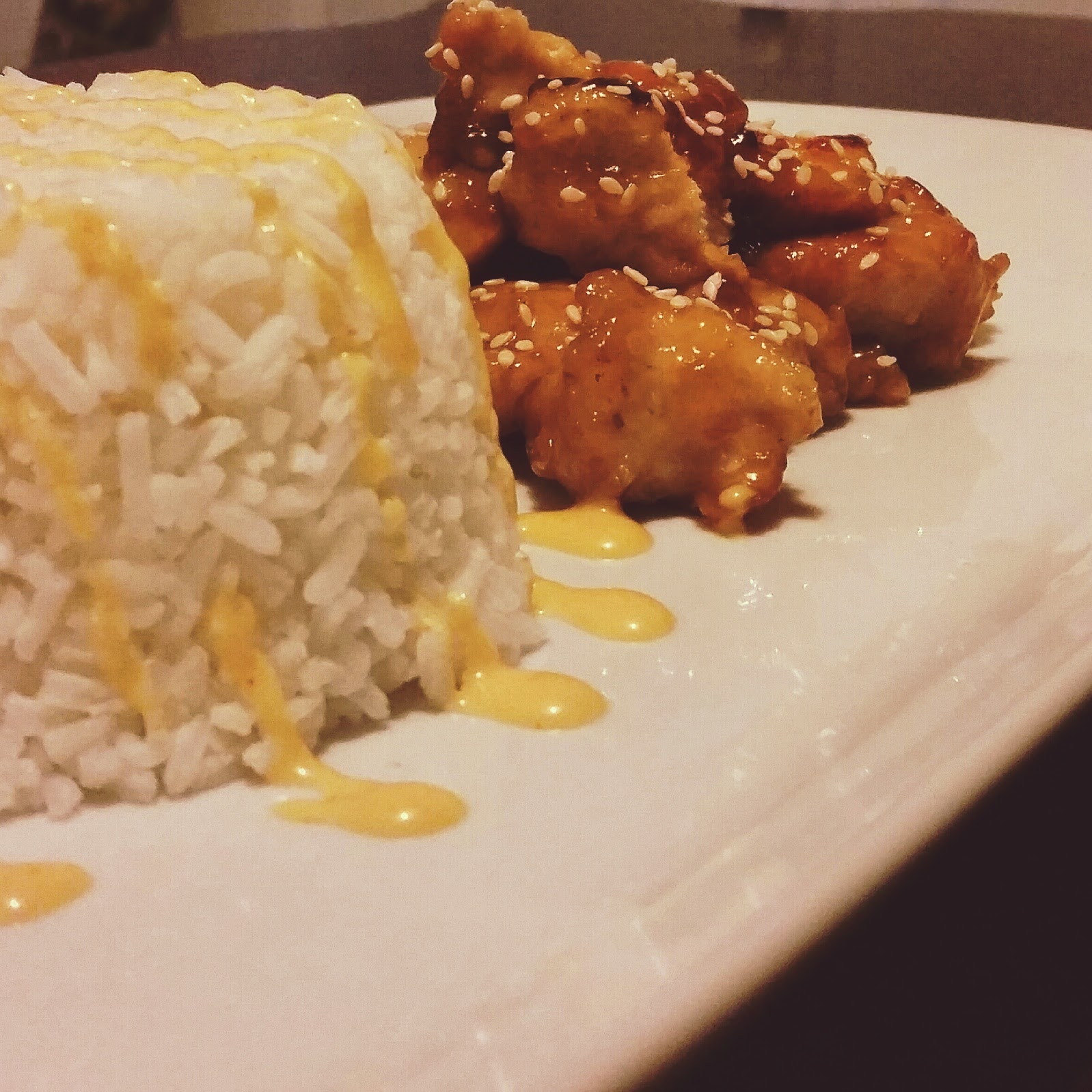 Sesame Chicken with Shrimp Sauce