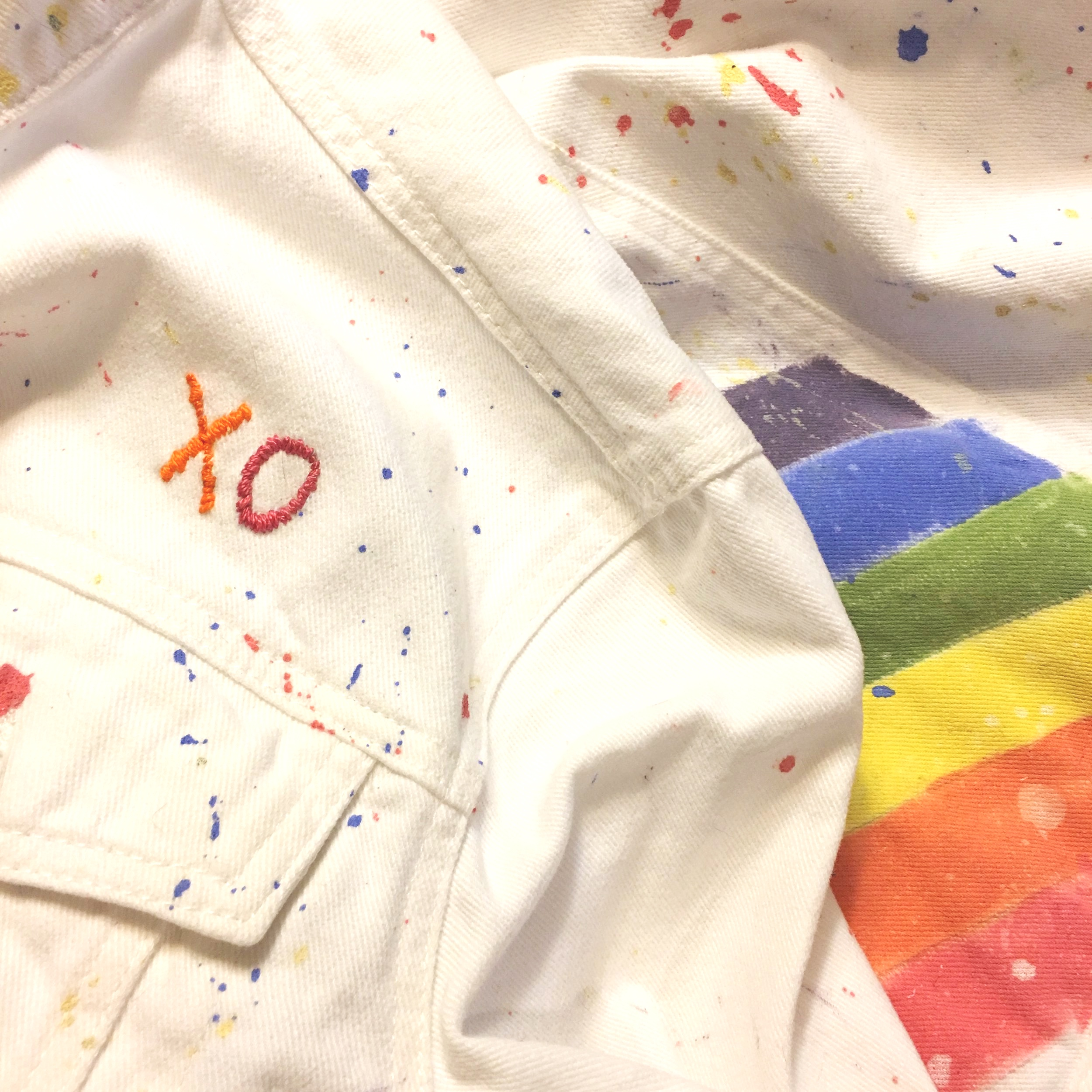 Rainbow Denim - Hand Painted and Embroidered Rainbow Denim Jacket
