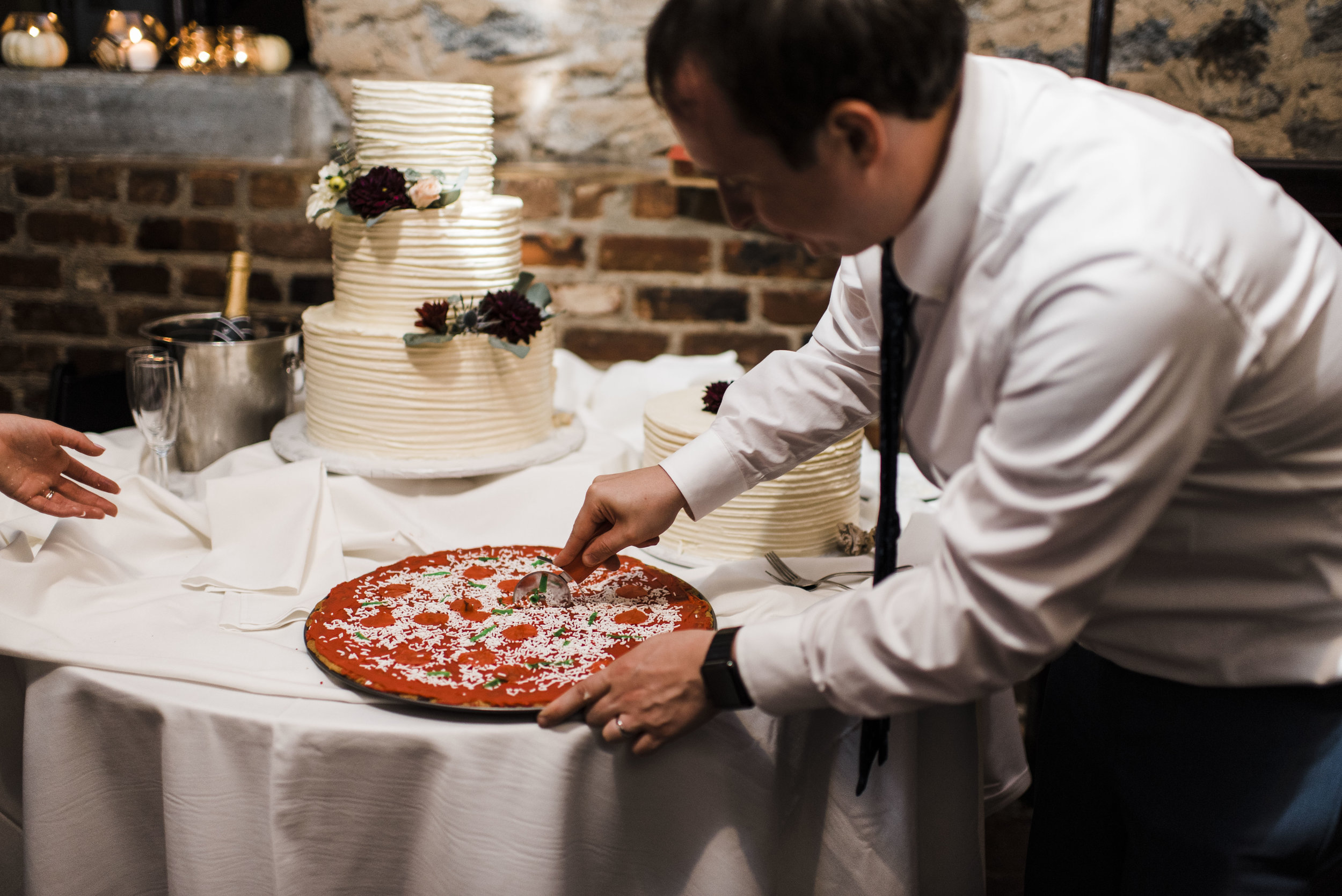 wedding the foundry Athens Georgia  pizza cake