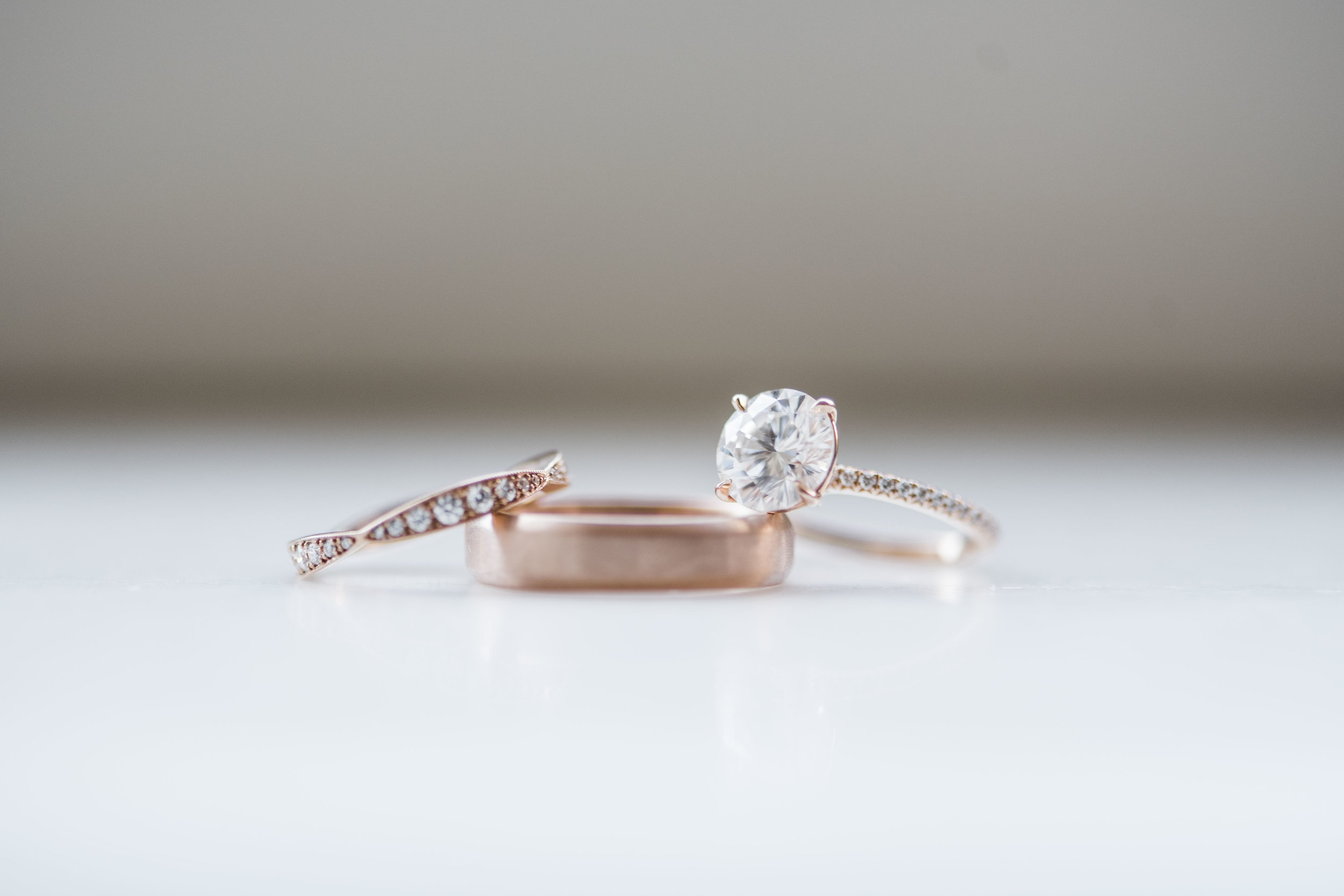 rose gold moissanite wedding ring engagement ring