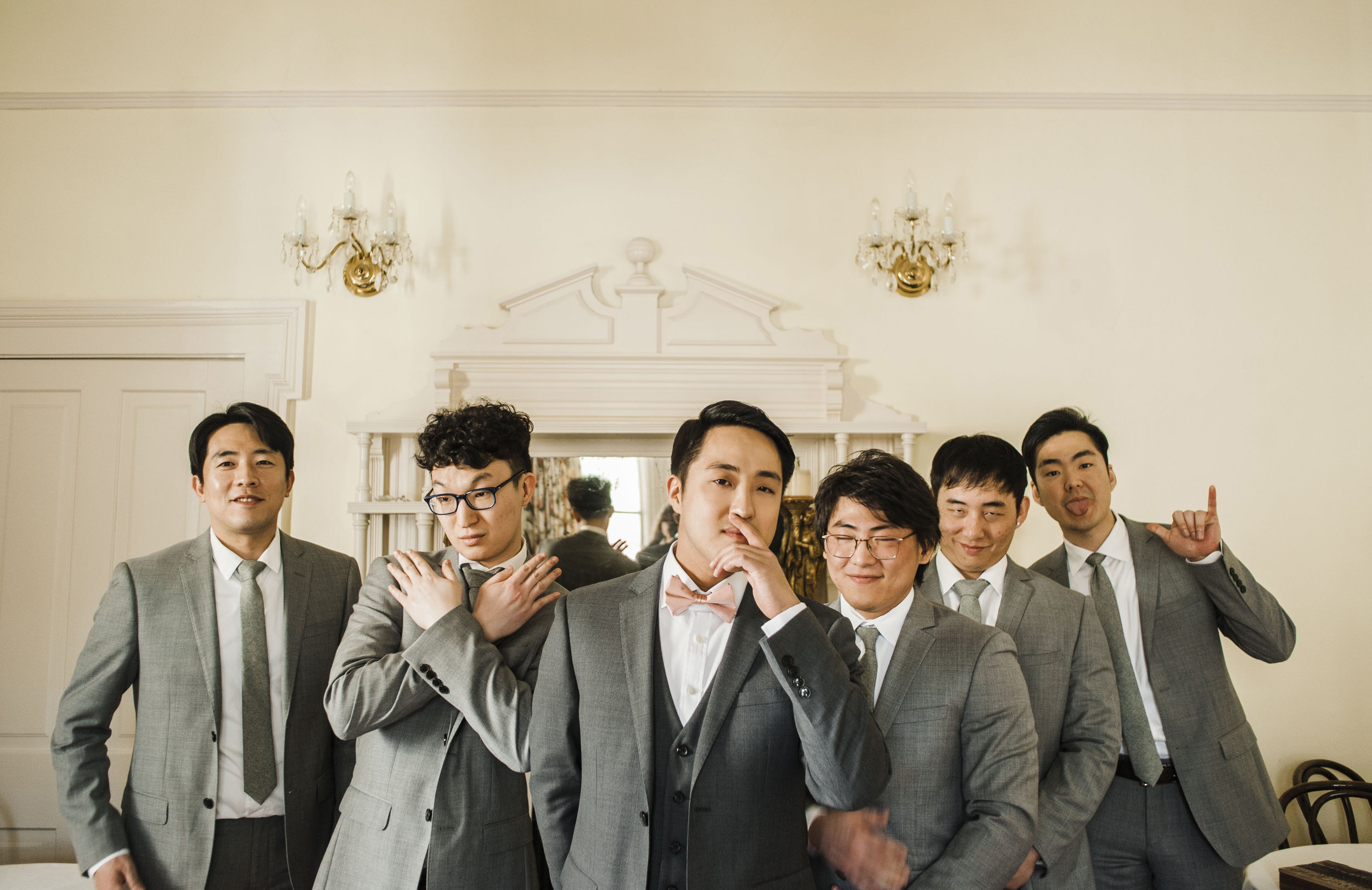 groomsmen getting ready Korean wedding