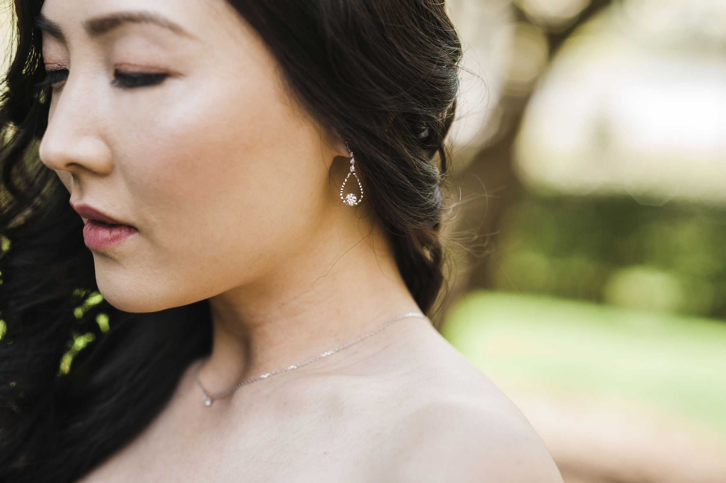 Korean wedding atlanta couple earrings