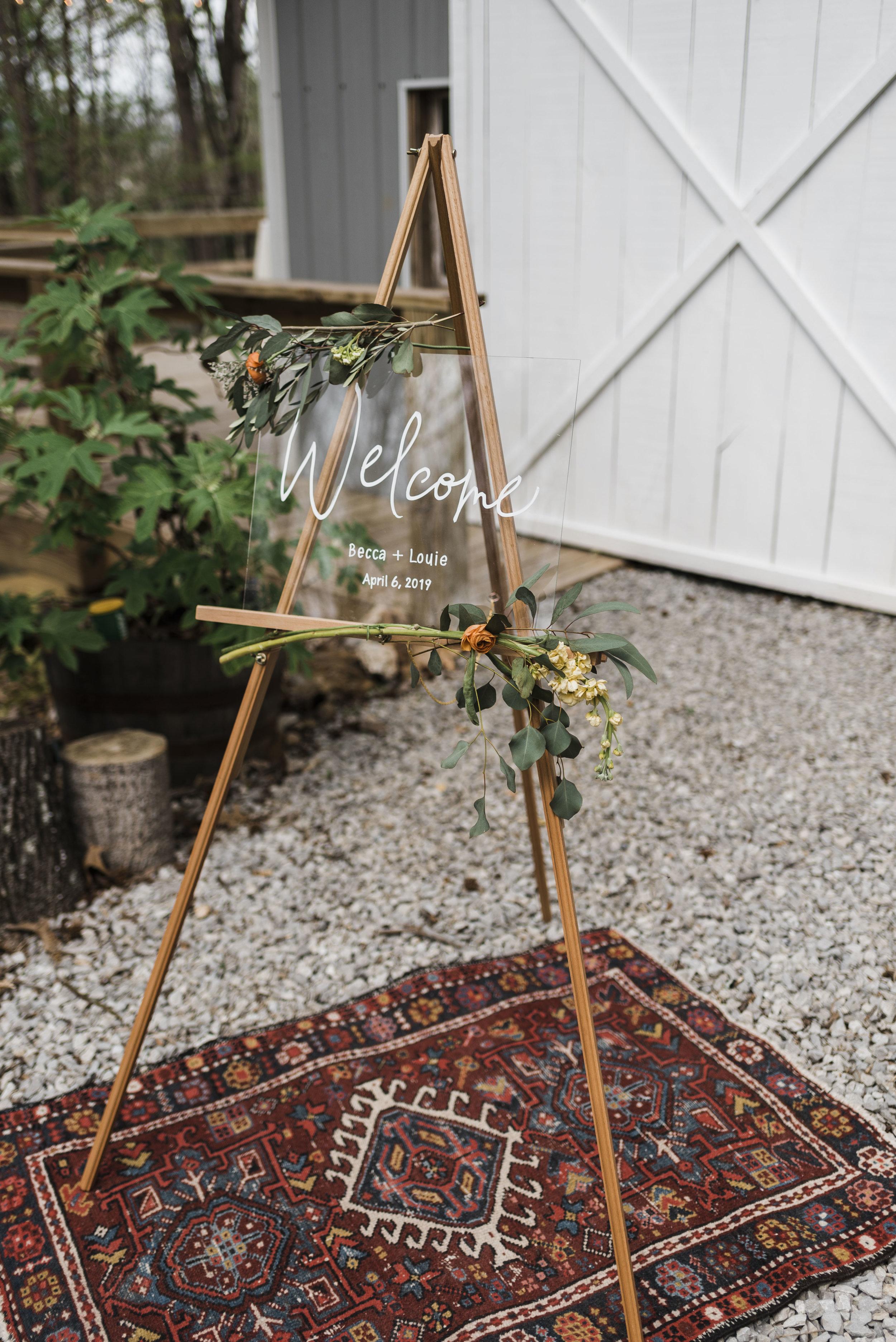 wedding Persian rug acrylic sign chattanooga Tennessee barn