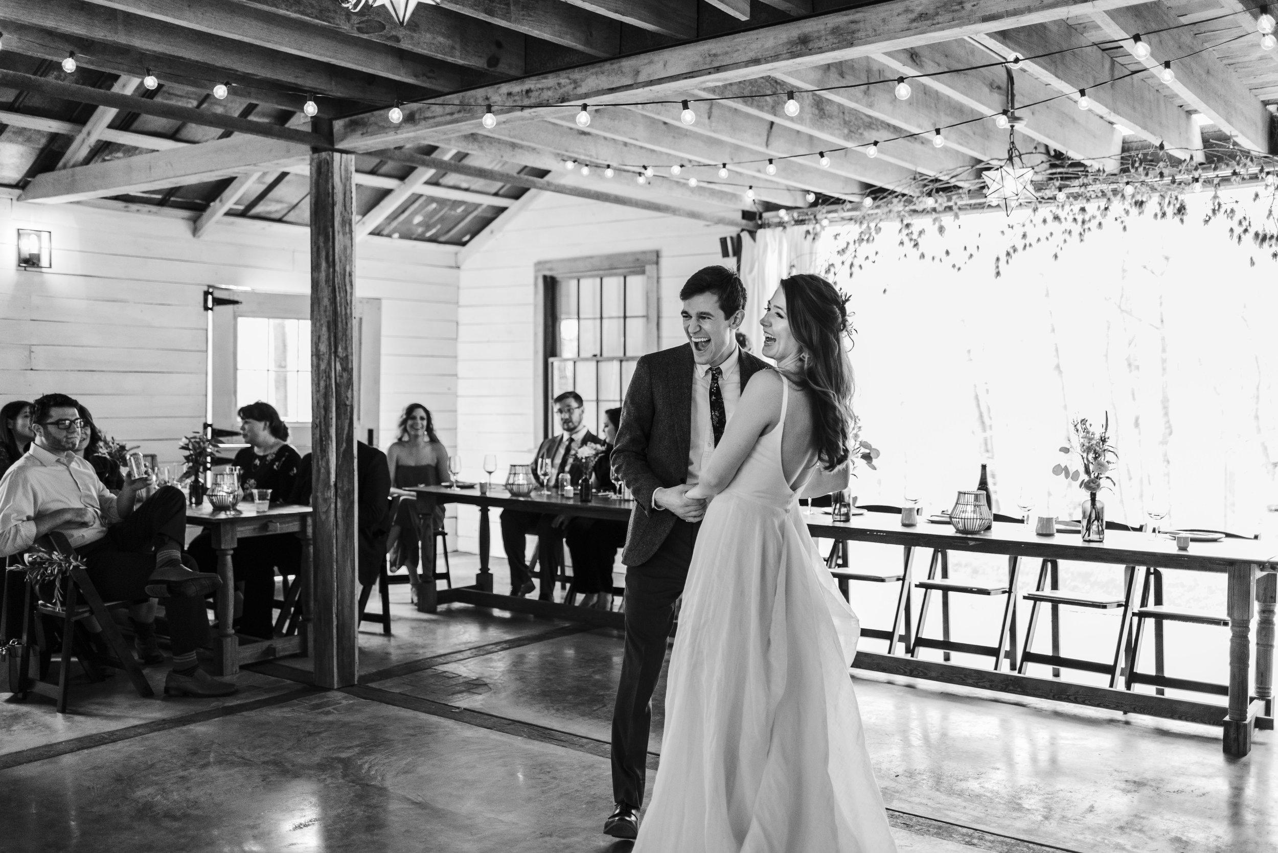 wedding bride groom couple first dance chattanooga Tennessee barn