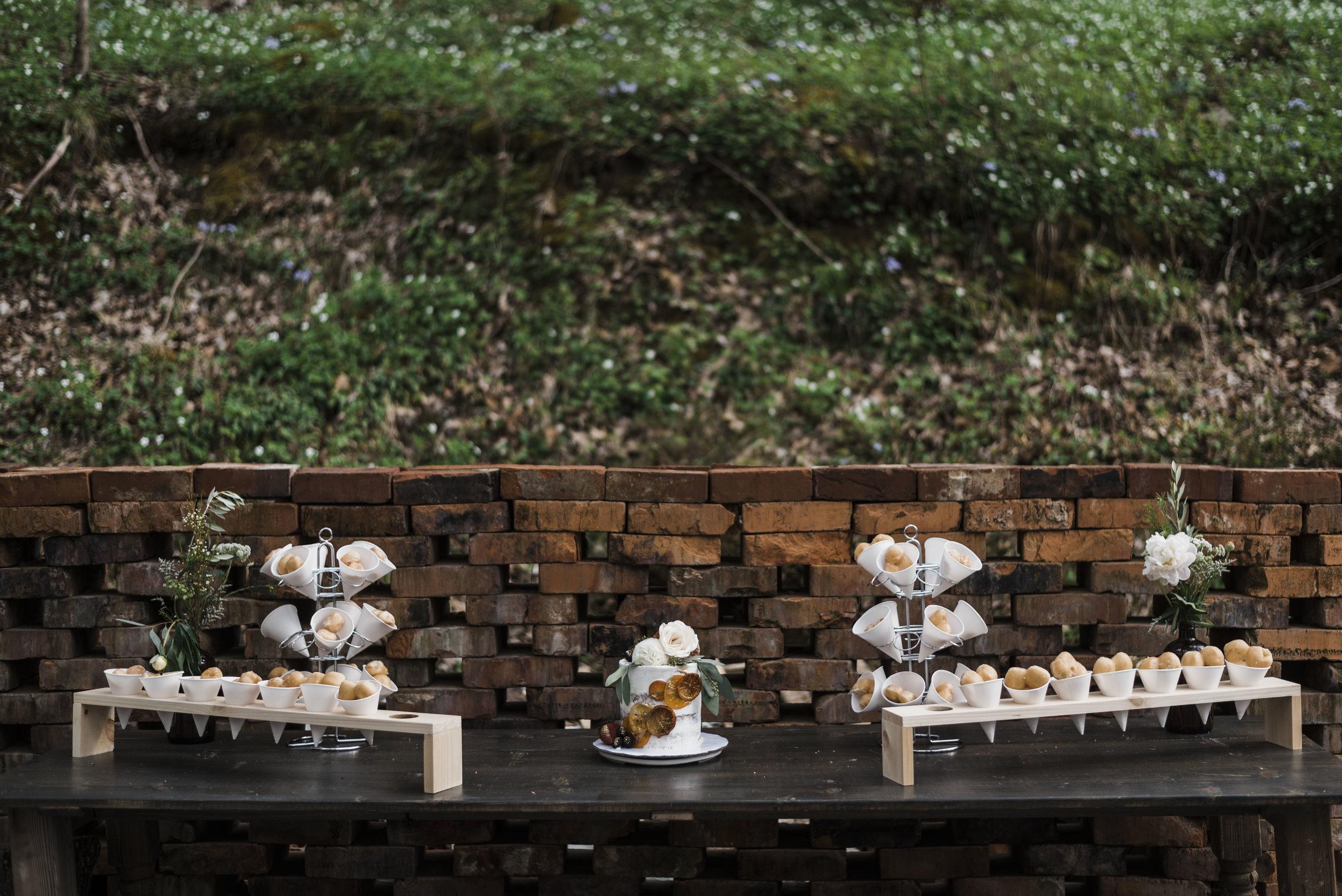 wedding dessert table cake donuts chattanooga Tennessee barn