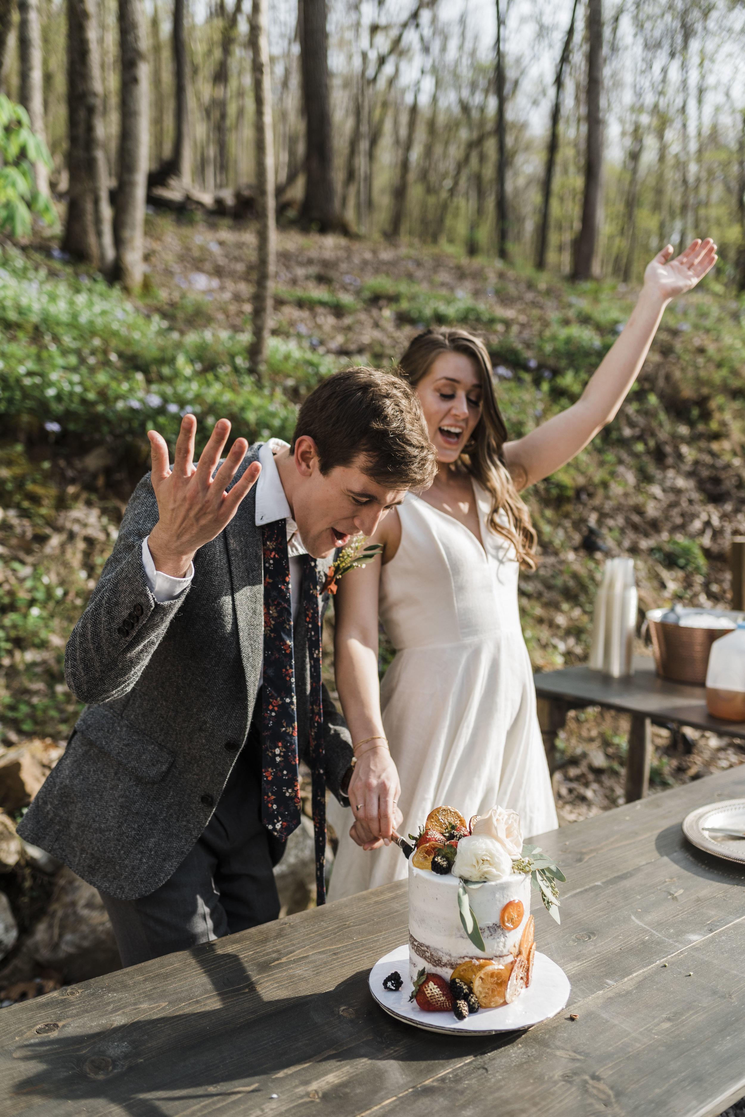 edding bride groom couple cake cutting chattanooga Tennessee