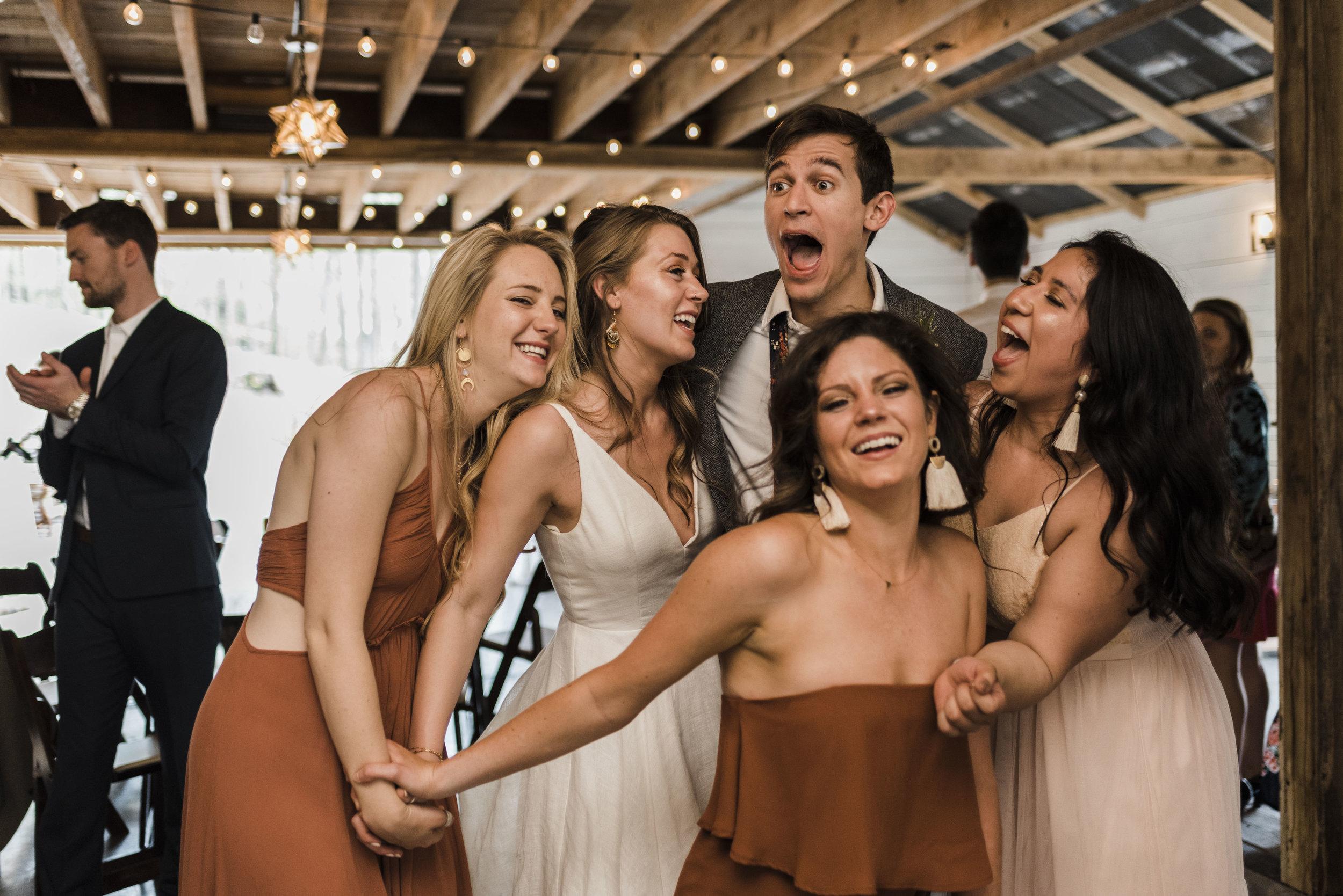 wedding groom bridesmaidsdancing reception Chattanooga Tennessee