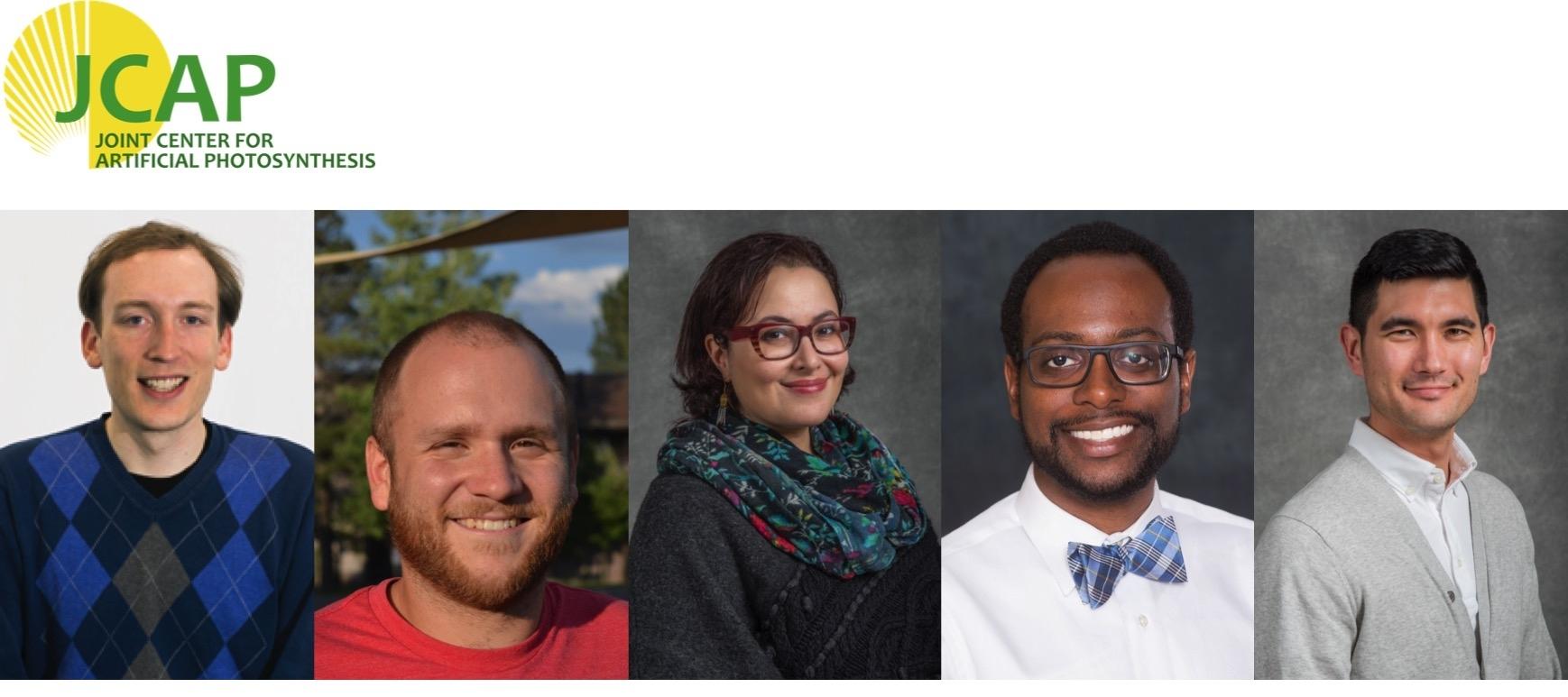 JCAP Team Science winners: Zachary W. Ulissi, Daniel A. Torelli, Maryam Farmand, Jeremy T. Feaster, and Sean W. Fackler