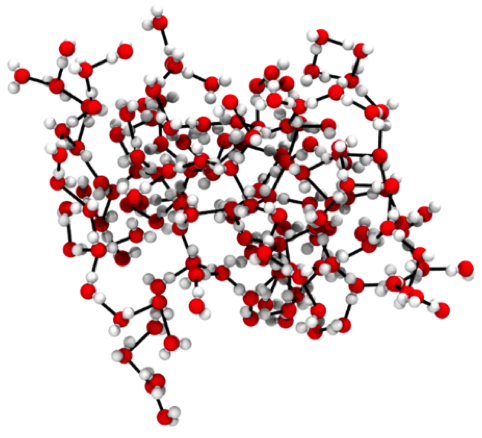 Reprinted from Naserifar, S. and Goddard, W. A. Liquid water is a dynamic polydisperse branched polymer. Proceedings of the National Academy of Sciences, DOI:  https://doi.org/10.1073/pnas.1817383116  (2019)   Snapshot of water at room temperature showing its polymer nature. The strong hydrogen bonds are represented by black lines. This example has 15 branches with a longest single chain of 39 waters and a total of 216 molecules.