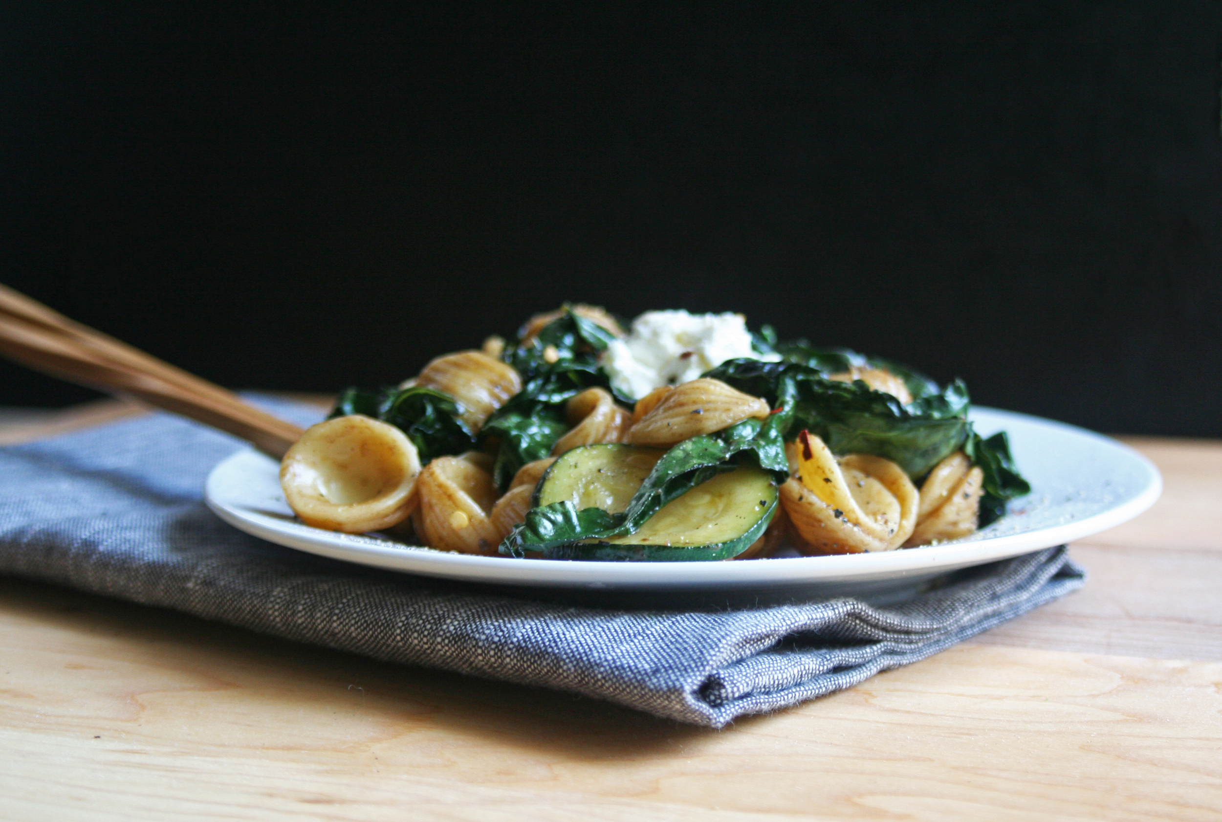 pasta orecchiette with kale and balsamic coconut dressing, mindful eating